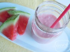 Too much leftover watermelon?  Watermelon Banana Smoothie recipe