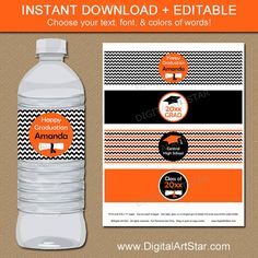 Printable Graduation Water Bottle Labels with by digitalartstar