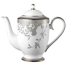 Platinum Leaves Coffee Pot with Crystals