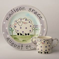 Custom Made Hand Painted, Personalized, Birth Plate and Cup / Sheep by suzaluna: