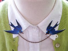 Pretty Bird Brooch Blue Swallow Double Collar by whatanovelidea