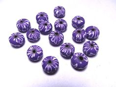 New 20 Polymer Fimo Clay Round Rondell Multicolor White Purple 9mm Beads