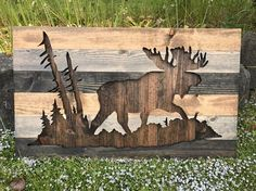 Rustic Moose Silhouette Wood Wall Art by Bayocean Rustic Design