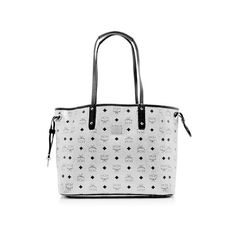 Rental MCM Project Visetos Reversible Medium Tote ($100) ❤ liked on Polyvore featuring bags, handbags, tote bags, silver, white handbags, colorful totes, mcm tote, medium tote and drawstring tote