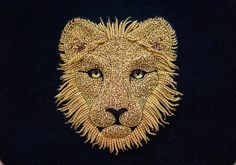 Goldwork embroidery lion by Laura Baverstock Zardozi Embroidery, Bead Embroidery Patterns, Bead Embroidery Jewelry, Gold Embroidery, Embroidery Fashion, Hand Embroidery Designs, Toge Romaine, Charro, Sand Sculptures