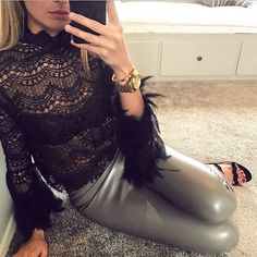 PANDORA black lace feather trim top and PETRA faux leather leggings, both in stock now!  www.stealherlook.co.uk #ootd #ootn #fashion #fashionista #fblogger #instastyle #instafashion #dress #style #onlineshopping #onlineshop #luxe #trendsetter #fbloggers #feathers #outfitgoals