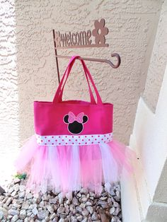 Pink and White Minnie Mouse Tutu Bag - Dance Bag - Ballet Tote - Tutu Purse on Etsy, $26.99