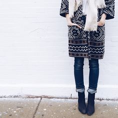 Patterned coat and denim
