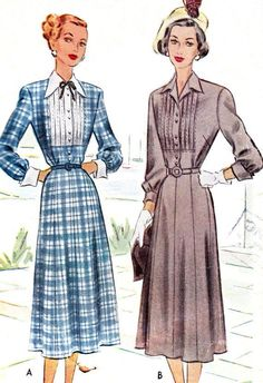 1940s Dress Pattern McCall 7143 Gored Skirt Dress Fit and Flare Pintuck Bodice Front Button Shirtdress Womens Vintage Sewing Pattern Bust 34 - abito anni ' 40 Pattern McCall 7143 incornato gonna abito Fit e Flare pesantezza corpetto sul davanti camicia Womens Vintage Sewing Pattern busto 34