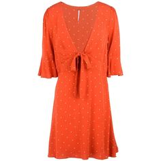 Free People Short Dress ($155) ❤ liked on Polyvore featuring dresses, red, free people dresses, laced up dress, red lace up dress, lace-up dresses and polka dot mini dress