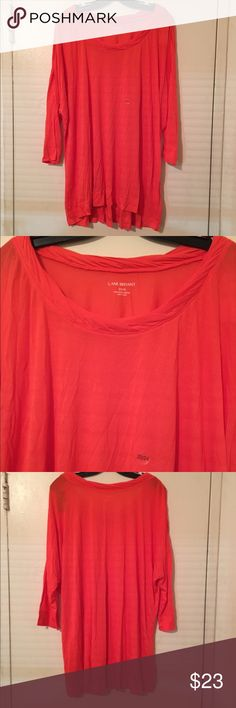 Lane Bryant pop of color top size 22/24 3X Cute pop of color top with detail at the top. NWT this top goes with almost everything dress it up or down. Label size 22/24 equivalent to 3X Lane Bryant Tops