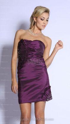 Sheath/Column Strapless Taffeta Short/Mini Purple Homecoming Dress