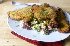 cornmeal fried pork chops + goat cheese smashed potatoes