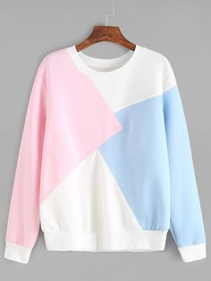 Shop Color Block Long Sleeve Sweatshirt online SheIn offers Color Block Long Sleeve Sweatshirt more to fit your fashionable needs Mode Outfits, Casual Outfits, Fashion Outfits, Women's Fashion, Cute Sweatshirts, Cute Shirts, Hoodies, Sweatshirt Outfit, Sweater Hoodie