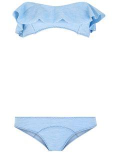 LISA MARIE FERNANDEZ Faded Denim Flounce Natalie Bikini. #lisamariefernandez #cloth #denim