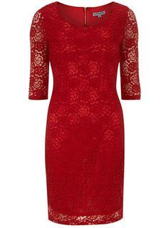 Red lace layer midi dress
