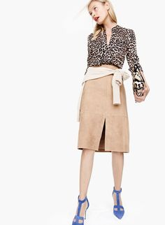 433c02039d68 NOV Style Guide: J.Crew women's collarless pocket top in leopard,  Collection Italian cashmere boyfriend V-neck sweater, Collection A-line  midi skirt in ...