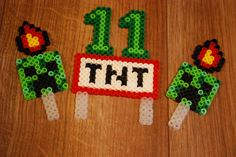 Minecraft inspired TNT Creeper Perler Bead Cake Topper by ToniOttesCreations