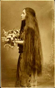Vintage. Long hair. This length is beautiful & a gloss is apparent.