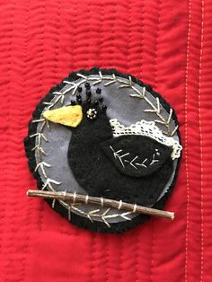 Halloween Brooch of Crow with Twig