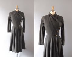 1940s Coat / Asymmetry Princess Coat / 40s