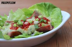Bunless hot dogs/brats: Split your sausage down the middle, lay on leaf of lettuce and fill with toppings.