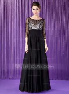 A-Line/Princess Scoop Neck Floor-Length Chiffon Mother of the Bride Dress With Beading Sequins (008018940) - JJsHouse
