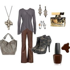 I have similar pants and boots. Get the top and a bag and I have this outfit. Not too difficult. Brown and grey?