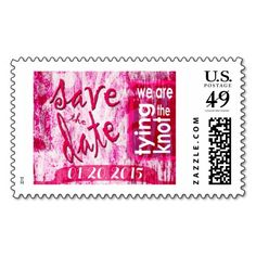 Casual Bubblegum Wedding Save the date stamp