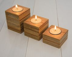 Three wooden candle holders. Handmade. Reclaimed wood. Oak wood. Modern wooden candle holders. Natural wood. Candle block. Set of 3.