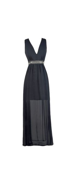 Lily Boutique 1920s Glamour Embellished Maxi Dress in Navy, $46 Navy Maxi Dress, Navy Prom Dress, Online Boutique Dress www.lilyboutique.com