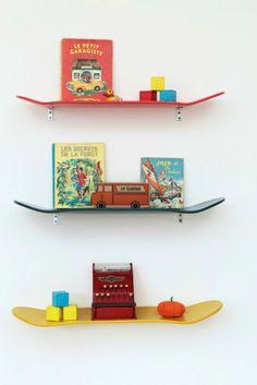 Eclectic Home designs home design designs Little Boy Bedroom Ideas, Kids Bedroom, Skateboard Shelves, Skateboard Decor, Skateboard Furniture, Skateboard Parts, Diy Regal, Kid Spaces, Space Kids