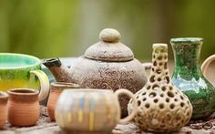 Pottery Place, Beautiful Paintings, Tea Pots, Jar, Tableware, Colorful, Home Decor, Dinnerware, Decoration Home