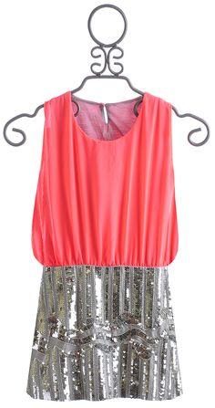 Flowers By Zoe Neon Coral Sequin Tween Dress