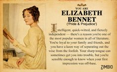 Which Classic Literature Character Are You? I got Elizabeth Bennet! I am so happy right now. I aspire to be as magnificent as Elizabeth Bennet...