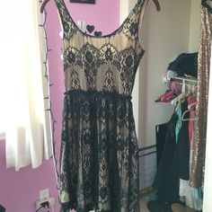 black and gold short dress worn once, tan and gold short dress with low back Wet Seal Dresses Mini