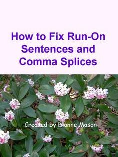 $1.50 Common Core Standards require students to demonstrate command of the conventions of standard English. This mini lesson on how to use commas in order to avoid run-on sentences and comma splices is a useful tool to that end. The first handout defines run-on sentences and comma splices and explains how to correct them. It provides examples of each error along with corrections.