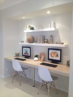 Along wall (kids level) Office Nook, Home Office Space, Study Office, Home Office Design, Home Office Decor, House Design, Home Decor, Study Room Decor, Bedroom Decor