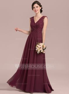 43ec47f163a A-Line Princess V-neck Floor-Length Chiffon Lace Bridesmaid Dress With