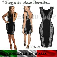 646b79d013d2 ABITO pizzo ELEGANTE schiena aperta tubino vestito vintage sera SERA  snellente