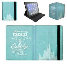 Flip Case For Apple iPad Mini 2 & 3 Flip Cover - Aqua Dreams Can Come True Walt Disney Quote Book Stand