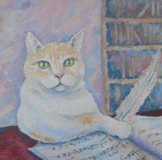 Wise Cat Musician Original Oil Painting Impasto Palette knife Pastel color Pet Portrait Abstract Animal Picture Russian Artwork Still Life (70.00 USD) by FrozenLife