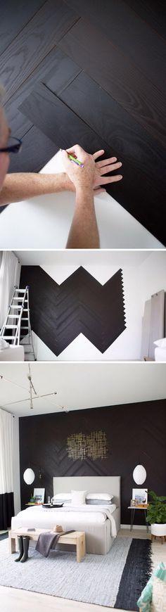DIY Herringbone Wall With Stikwood.