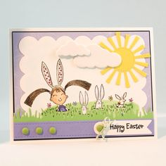 Penny Black Easter Card - Handmade Easter Bunny Card - Girl Easter Bunny Card - Cute Easter Card - OOAK Easter Bunny Card - Unique Easter Bunny Card - Happy Easter by TrioCards on Etsy