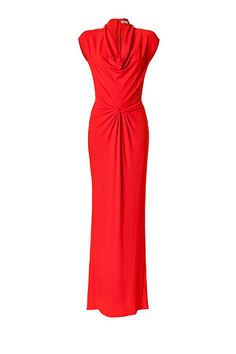 Coral Twisted Front Cowl Neck Gown by MICHAEL KORS | Luxury fashion online | STYLEBOP.com