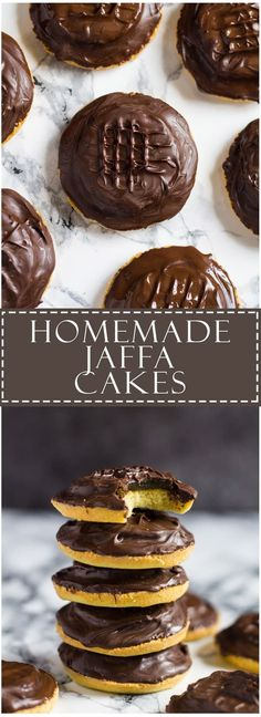Homemade Jaffa Cakes - A British classic. Biscuit sized cakes topped with an orange jelly and sealed with dark chocolate!