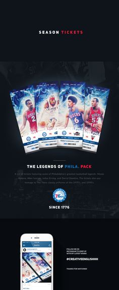 Self-Initiated. A set of season tickets I designed to honor some of Philadelphia's basketball greats including the late Moses Malone, and Darryl Dawkins. My Design, Logo Design, Sport Design, News Design, Design Ideas, Graphic Design, Darryl Dawkins, Sporting Event Tickets, Nba Tickets