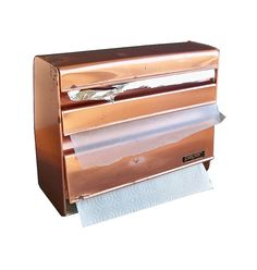 Mid Century Lincoln Beautyware Copper Kitchen Dispenser - foil, paper towels and waxed paper!