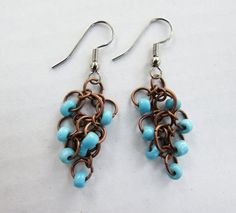 Blue Bead and Copper Chainmaille Chandelier earrings by GypsyDreamerCafe, $13.50