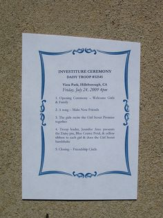 Daisy Investiture Ceremony program idea